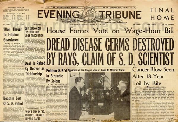 1938 Evening Tribune Front Page about Dr. Rife